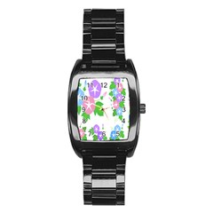 Flower Floral Star Purple Pink Blue Leaf Stainless Steel Barrel Watch by Mariart