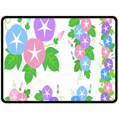 Flower Floral Star Purple Pink Blue Leaf Double Sided Fleece Blanket (large)  by Mariart
