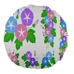 Flower Floral Star Purple Pink Blue Leaf Large 18  Premium Flano Round Cushions by Mariart