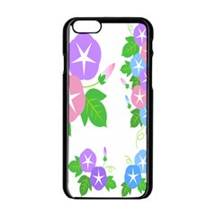 Flower Floral Star Purple Pink Blue Leaf Apple Iphone 6/6s Black Enamel Case by Mariart
