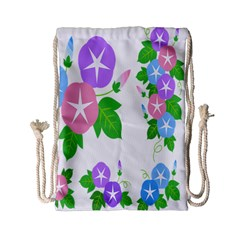 Flower Floral Star Purple Pink Blue Leaf Drawstring Bag (small) by Mariart