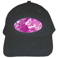 Flower Butterfly Pink Black Cap by Mariart
