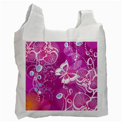Flower Butterfly Pink Recycle Bag (two Side)  by Mariart