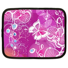 Flower Butterfly Pink Netbook Case (xl)  by Mariart