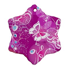 Flower Butterfly Pink Ornament (snowflake) by Mariart