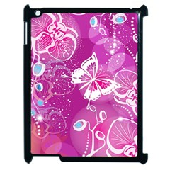 Flower Butterfly Pink Apple Ipad 2 Case (black) by Mariart