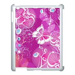 Flower Butterfly Pink Apple Ipad 3/4 Case (white) by Mariart