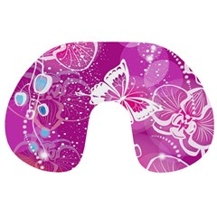 Flower Butterfly Pink Travel Neck Pillows by Mariart