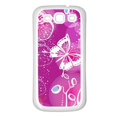 Flower Butterfly Pink Samsung Galaxy S3 Back Case (white) by Mariart