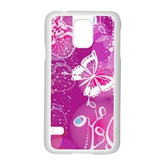 Flower Butterfly Pink Samsung Galaxy S5 Case (white) by Mariart