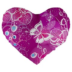 Flower Butterfly Pink Large 19  Premium Flano Heart Shape Cushions by Mariart