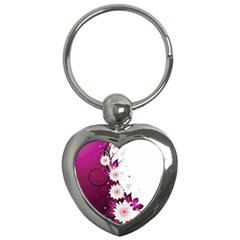 Flower Purple Sunflower Star Butterfly Key Chains (heart)  by Mariart