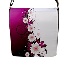 Flower Purple Sunflower Star Butterfly Flap Messenger Bag (l)  by Mariart
