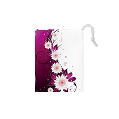 Flower Purple Sunflower Star Butterfly Drawstring Pouches (xs)  by Mariart