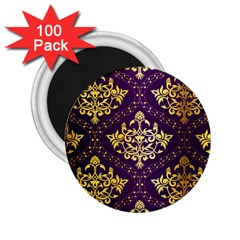 Flower Purplle Gold 2 25  Magnets (100 Pack)  by Mariart