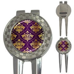 Flower Purplle Gold 3 In 1 Golf Divots by Mariart