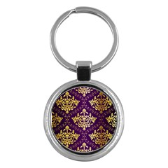 Flower Purplle Gold Key Chains (round)  by Mariart