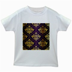 Flower Purplle Gold Kids White T Shirts by Mariart