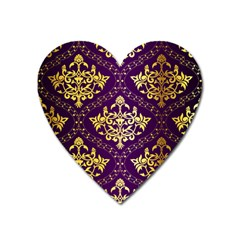 Flower Purplle Gold Heart Magnet by Mariart