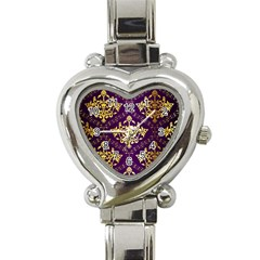 Flower Purplle Gold Heart Italian Charm Watch by Mariart
