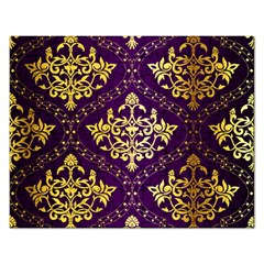 Flower Purplle Gold Rectangular Jigsaw Puzzl by Mariart