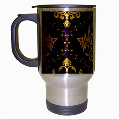 Flower Purplle Gold Travel Mug (silver Gray) by Mariart