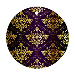 Flower Purplle Gold Round Ornament (two Sides) by Mariart