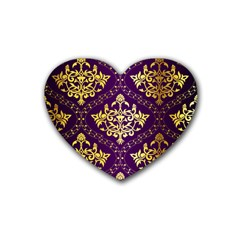 Flower Purplle Gold Rubber Coaster (heart)  by Mariart