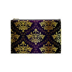 Flower Purplle Gold Cosmetic Bag (medium)  by Mariart