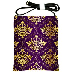 Flower Purplle Gold Shoulder Sling Bags by Mariart