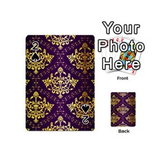 Flower Purplle Gold Playing Cards 54 (mini)  by Mariart