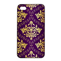Flower Purplle Gold Apple Iphone 4/4s Seamless Case (black) by Mariart