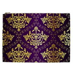 Flower Purplle Gold Cosmetic Bag (xxl)  by Mariart