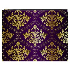 Flower Purplle Gold Cosmetic Bag (xxxl)  by Mariart