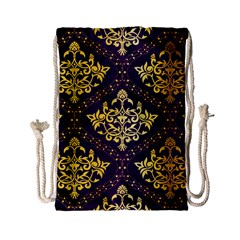 Flower Purplle Gold Drawstring Bag (small) by Mariart