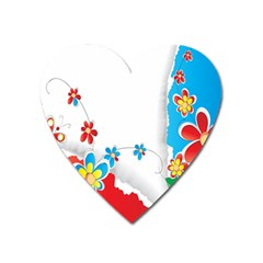 Flower Floral Papper Butterfly Star Sunflower Red Blue Green Leaf Heart Magnet by Mariart