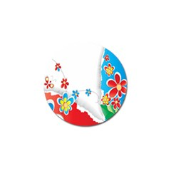 Flower Floral Papper Butterfly Star Sunflower Red Blue Green Leaf Golf Ball Marker by Mariart