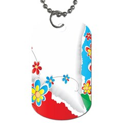 Flower Floral Papper Butterfly Star Sunflower Red Blue Green Leaf Dog Tag (two Sides) by Mariart