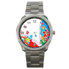 Flower Floral Papper Butterfly Star Sunflower Red Blue Green Leaf Sport Metal Watch by Mariart
