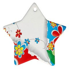Flower Floral Papper Butterfly Star Sunflower Red Blue Green Leaf Star Ornament (two Sides) by Mariart