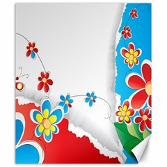 Flower Floral Papper Butterfly Star Sunflower Red Blue Green Leaf Canvas 20  X 24   by Mariart