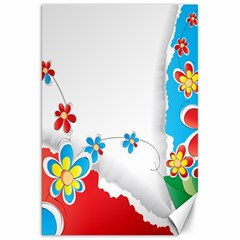 Flower Floral Papper Butterfly Star Sunflower Red Blue Green Leaf Canvas 20  X 30   by Mariart
