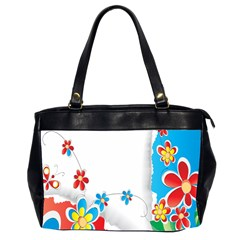 Flower Floral Papper Butterfly Star Sunflower Red Blue Green Leaf Office Handbags (2 Sides)  by Mariart
