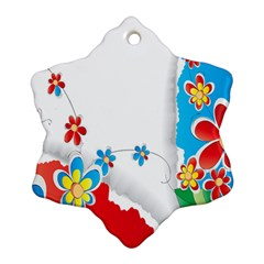 Flower Floral Papper Butterfly Star Sunflower Red Blue Green Leaf Ornament (snowflake) by Mariart