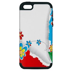 Flower Floral Papper Butterfly Star Sunflower Red Blue Green Leaf Apple Iphone 5 Hardshell Case (pc+silicone) by Mariart