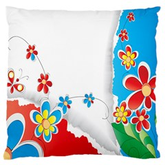 Flower Floral Papper Butterfly Star Sunflower Red Blue Green Leaf Large Flano Cushion Case (two Sides) by Mariart