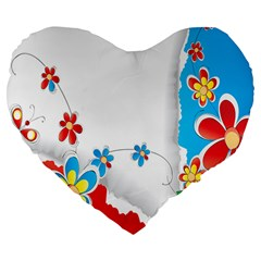 Flower Floral Papper Butterfly Star Sunflower Red Blue Green Leaf Large 19  Premium Flano Heart Shape Cushions by Mariart