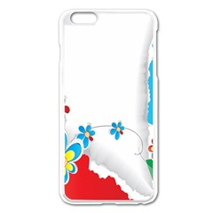 Flower Floral Papper Butterfly Star Sunflower Red Blue Green Leaf Apple Iphone 6 Plus/6s Plus Enamel White Case by Mariart