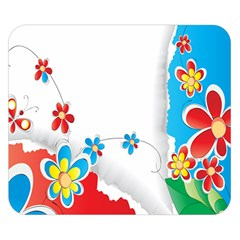 Flower Floral Papper Butterfly Star Sunflower Red Blue Green Leaf Double Sided Flano Blanket (small)  by Mariart