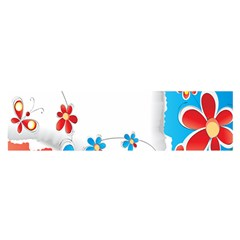 Flower Floral Papper Butterfly Star Sunflower Red Blue Green Leaf Satin Scarf (oblong) by Mariart
